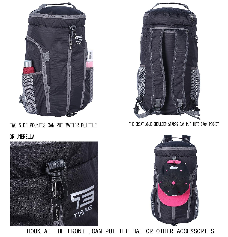 Amazon.com | TB TIBAG 35L/40L Packable Lightweight Waterproof Travel Sports Duffel Backpacks Bag (35L, BLACK) | Sports Duffels
