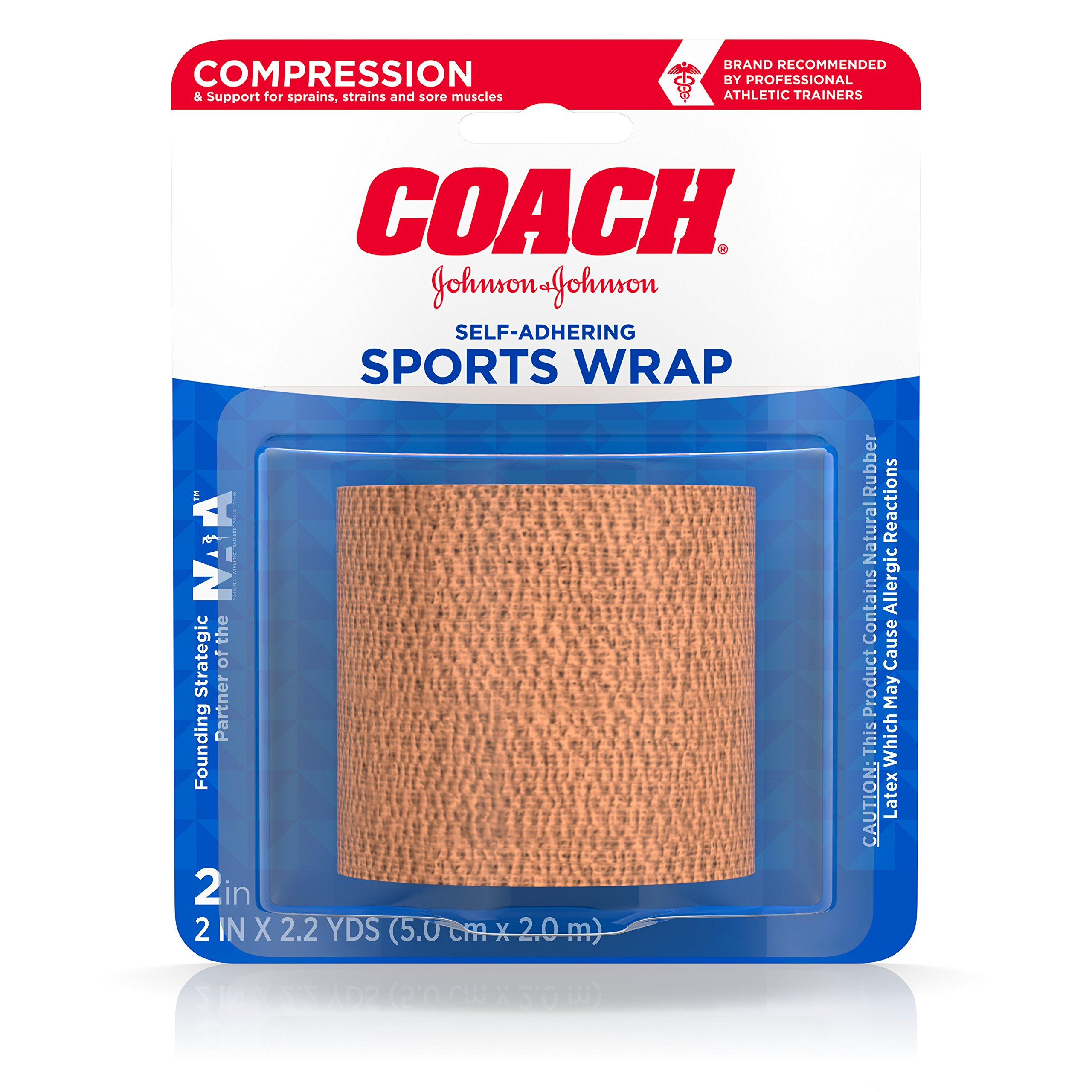 Johnson & Johnson Coach Self-Adhering Elastic Sports Bandage for Ankles & Wrists, 2 In By 2.2 Yd by Johnson & Johnson