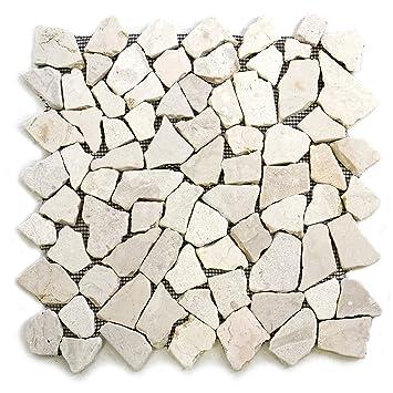 Natursteinmosaik  DIVERO 9 Matten 33 x 33cm Marmor Naturstein-Mosaik Fliesen für ...