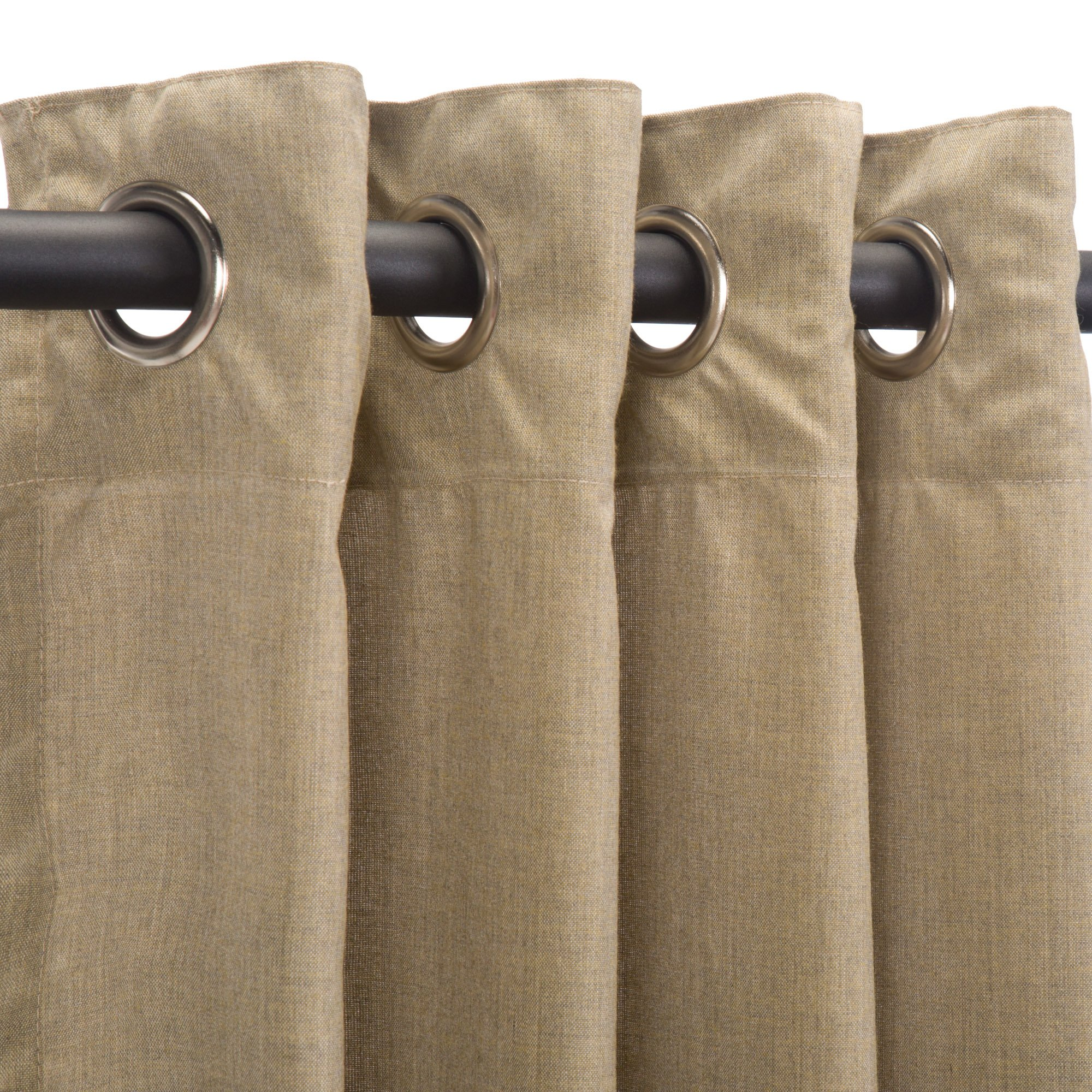 Sunbrella Outdoor Curtain Panel, Nickel Grommet Top, 50 by 120 Inch, Cast Tinsel (Available in Multiple Colors and Sizes) Includes Custom Storage Bag; Perfect For a Patio, Porch, Gazebo, or Pergola