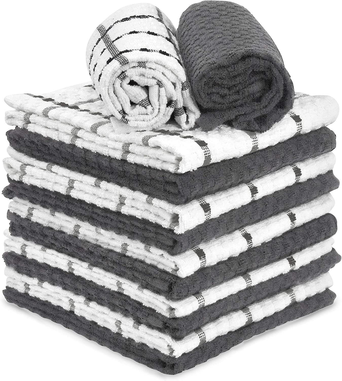 "Talvania Gray & White Kitchen Dish Towels, 100% Cotton Dobby Weave Terry Towel Set, 12 Grey Soft & Absorbent Dish Cloth for Hand and All Kitchen Cleaning 15"" X 25"" Machine Washable (Charcoal)"