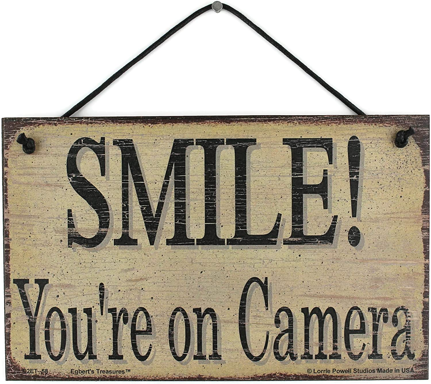 Egbert's Treasures 5x8 Vintage Style Sign Saying, Smile! You're on Camera Decorative Fun Universal Household Signs That Serve as a Notice for Home Surveillance and Video Doorbells