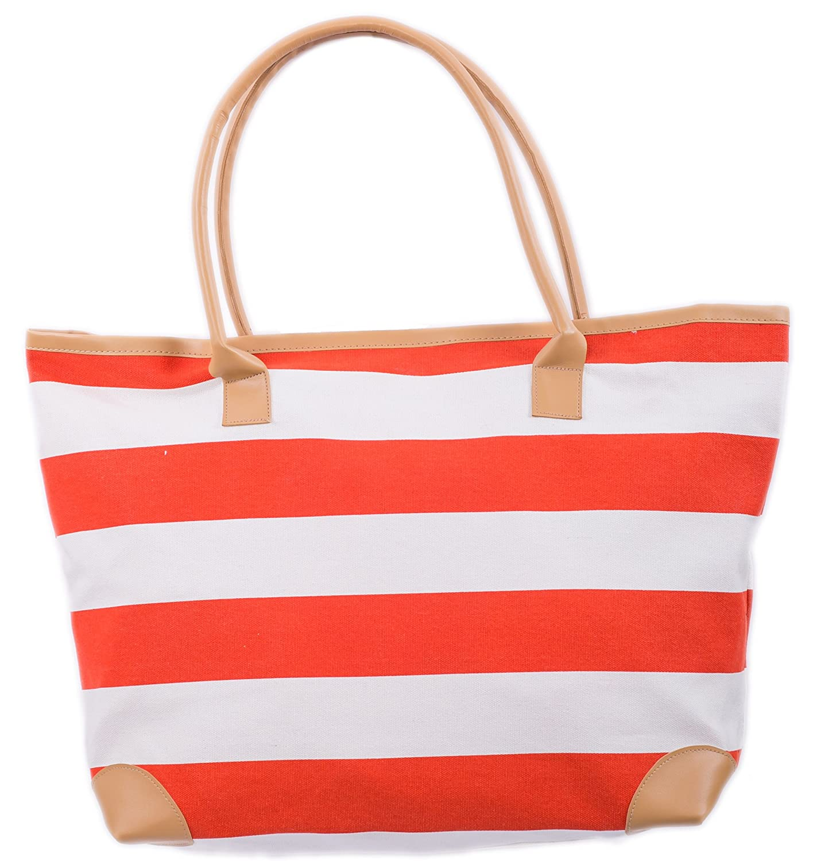 6c3a055f38 Amazon.com  Beach Bag Canvas Tote Bags Striped Summer Nautical Tote Shopper  for Ladies size 18