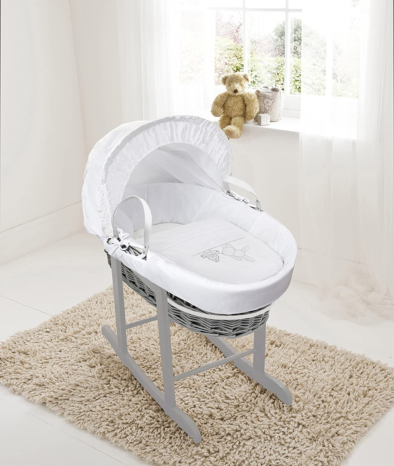 White Teddy Wash Day On Grey Wicker Moses Basket & Deluxe Dove Grey Rocking Stand Elegant Baby