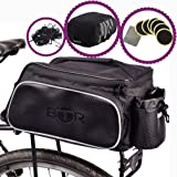 BTR Rear Rack Pannier BIke Bag - Black - With Option Of Waterproof Rain Cover. Universal Fitting Cycling Rear Rack Bicycle Bag