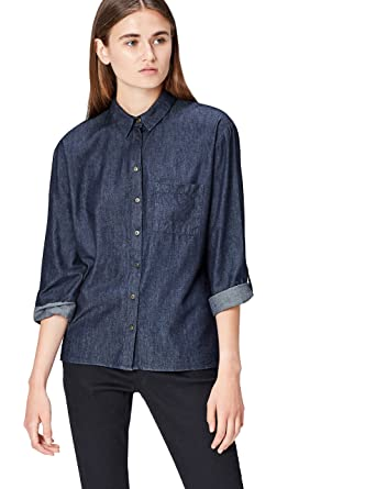 52a59977 find. Women's Denim Shirt Long Sleeve Dress: Amazon.co.uk: Clothing