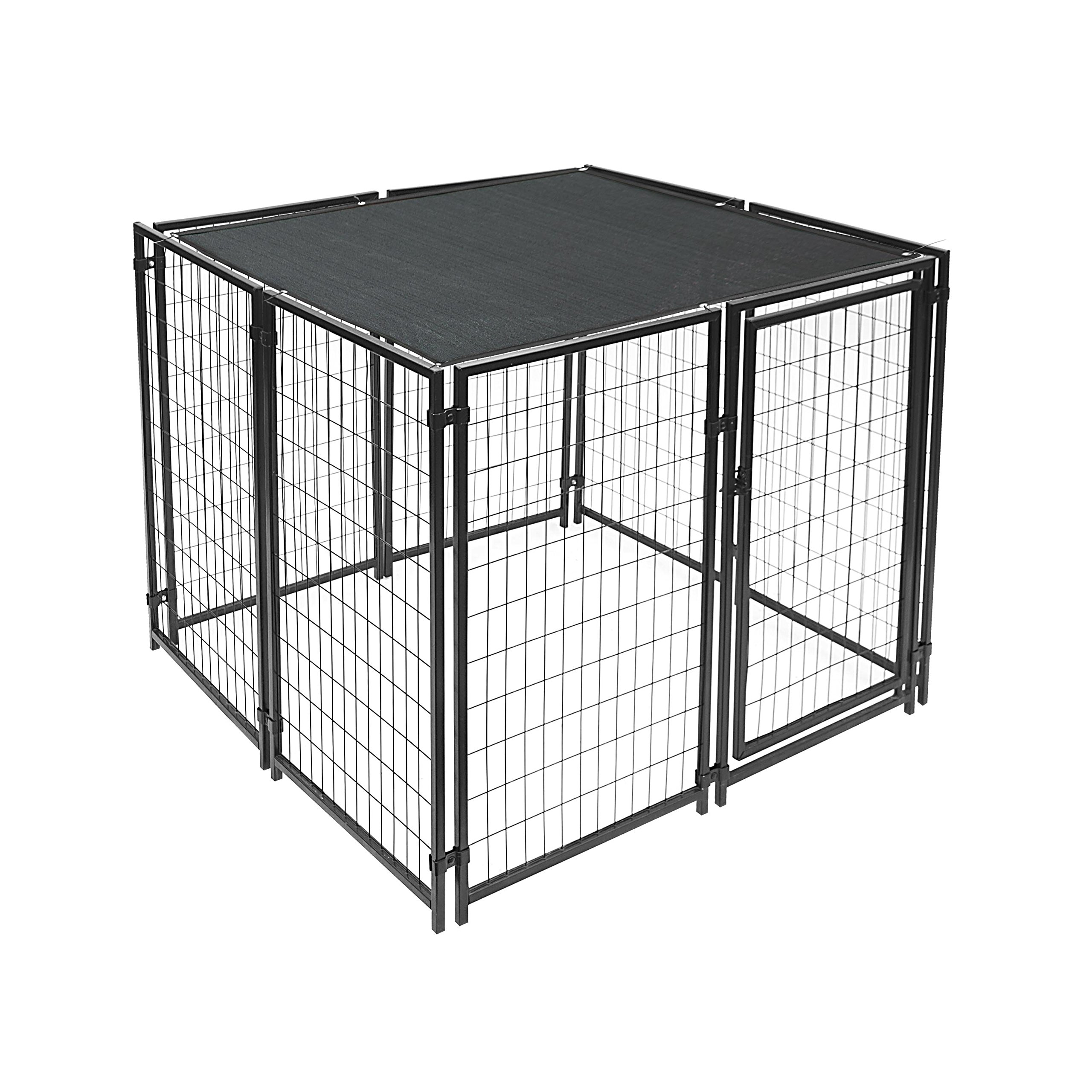 ALEKO PLK0505BK Feet Pet Dog Kennel Sun Shade Cover Weather Protection with Aluminum Grommets 5 x 5 Feet Black
