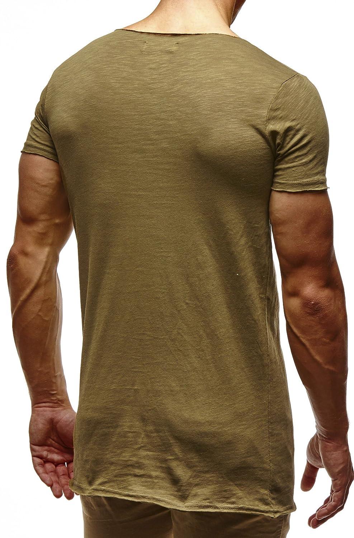 Khaki LEIF NELSON Herren oversize T-Shirt Sweatshirt Hoodie Hoody LN6342; Gr/š/§e L