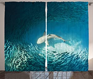 "Ambesonne Sea Animals Curtains, Shark and Small Fish Ocean Wilderness Waterscape Wildlife Nature Theme Picture, Living Room Bedroom Window Drapes 2 Panel Set, 108"" X 84"", Teal Beige"