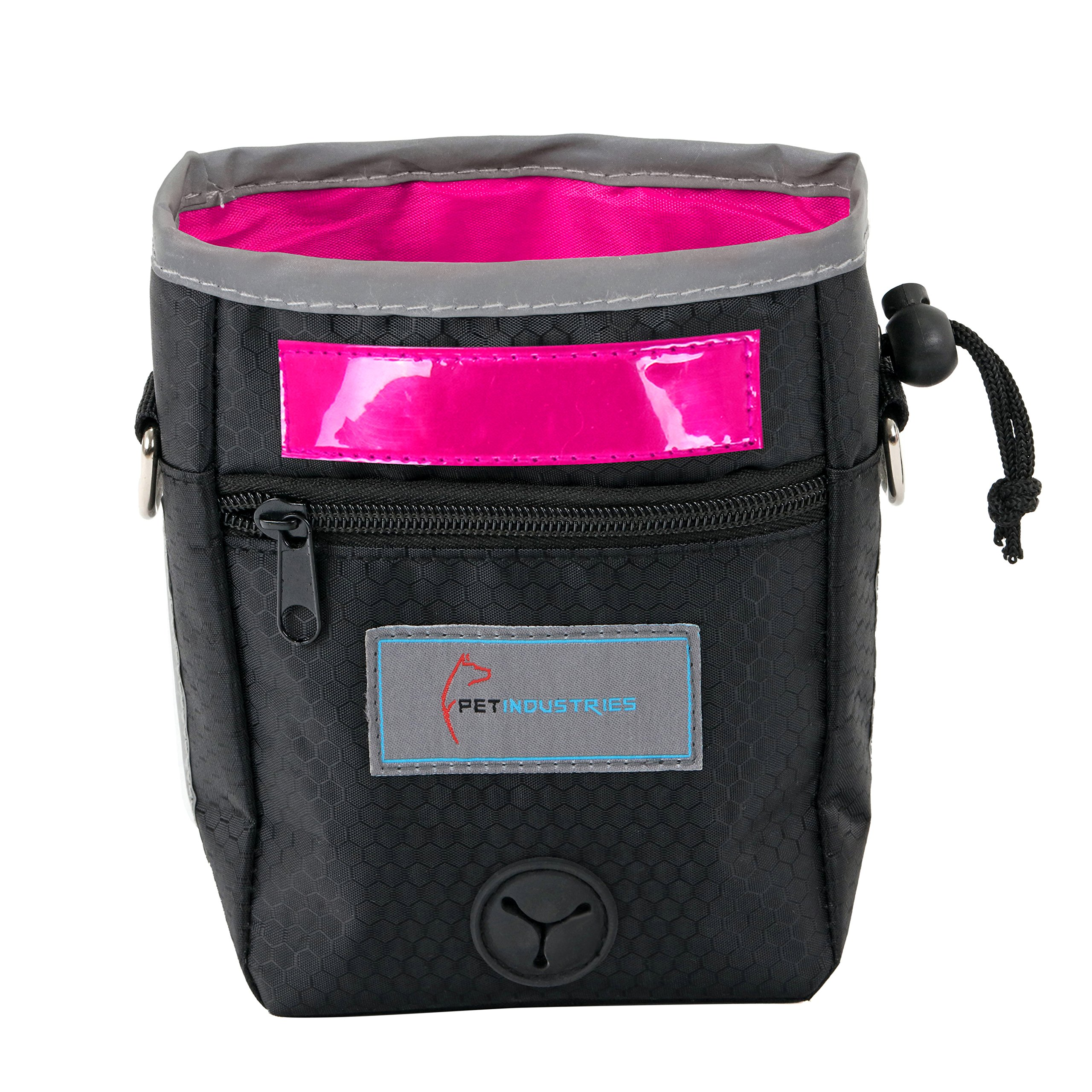 Pet Industries Dog Treat Training Pouch with Poop Bag Dispenser, Waist & Shoulder Reflective Strap, 2 Zippered Pockets and Quick-Access Opening [Premium Edition] (Rose Pink)
