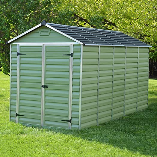 6 X 12 Green Skylight Plastic Apex Storage Shed   By Waltons