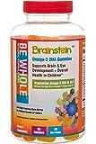 Brainstein: Children's Omega 3 DHA & ALA Vegetarian Gummies – 100% Plant-Based Omega 3's – Supports Brain & Eye Heath & Overall Growth & Development – Free of GMO's, High Fructose Corn Syrup & Gluten