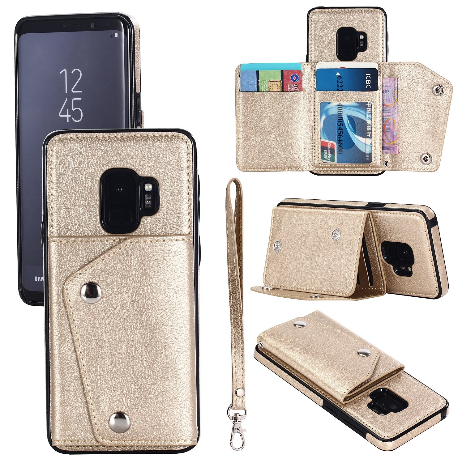 Samsung S8 Plus Leather Phone Case Wallet Smart Kickstand Card Holder Cover with Hand Straps, Dark Brown FLY HAWK KDS03052-ZongSe-S8 Plus@#CAGDF