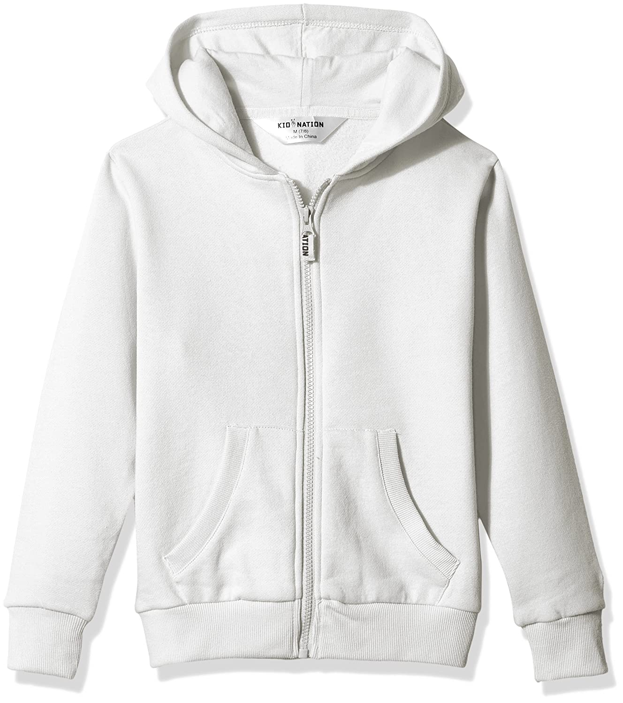 Kid Nation Kids Soft Brushed Fleece Zip-Up Hooded Sweatshirt Hoodie for Boys or Girls,Age 4-12Years