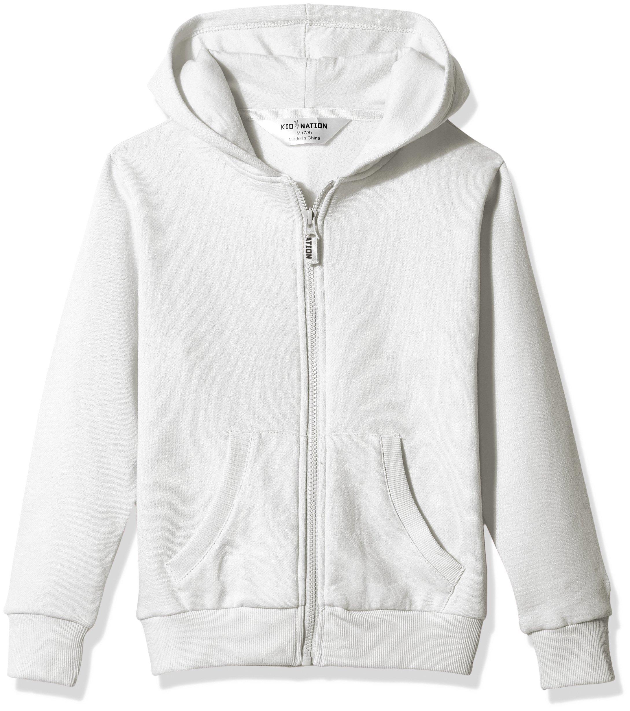 Kid Nation Kids' Brushed Fleece Zip-up Hooded Sweatshirt for Boys Girls XS White