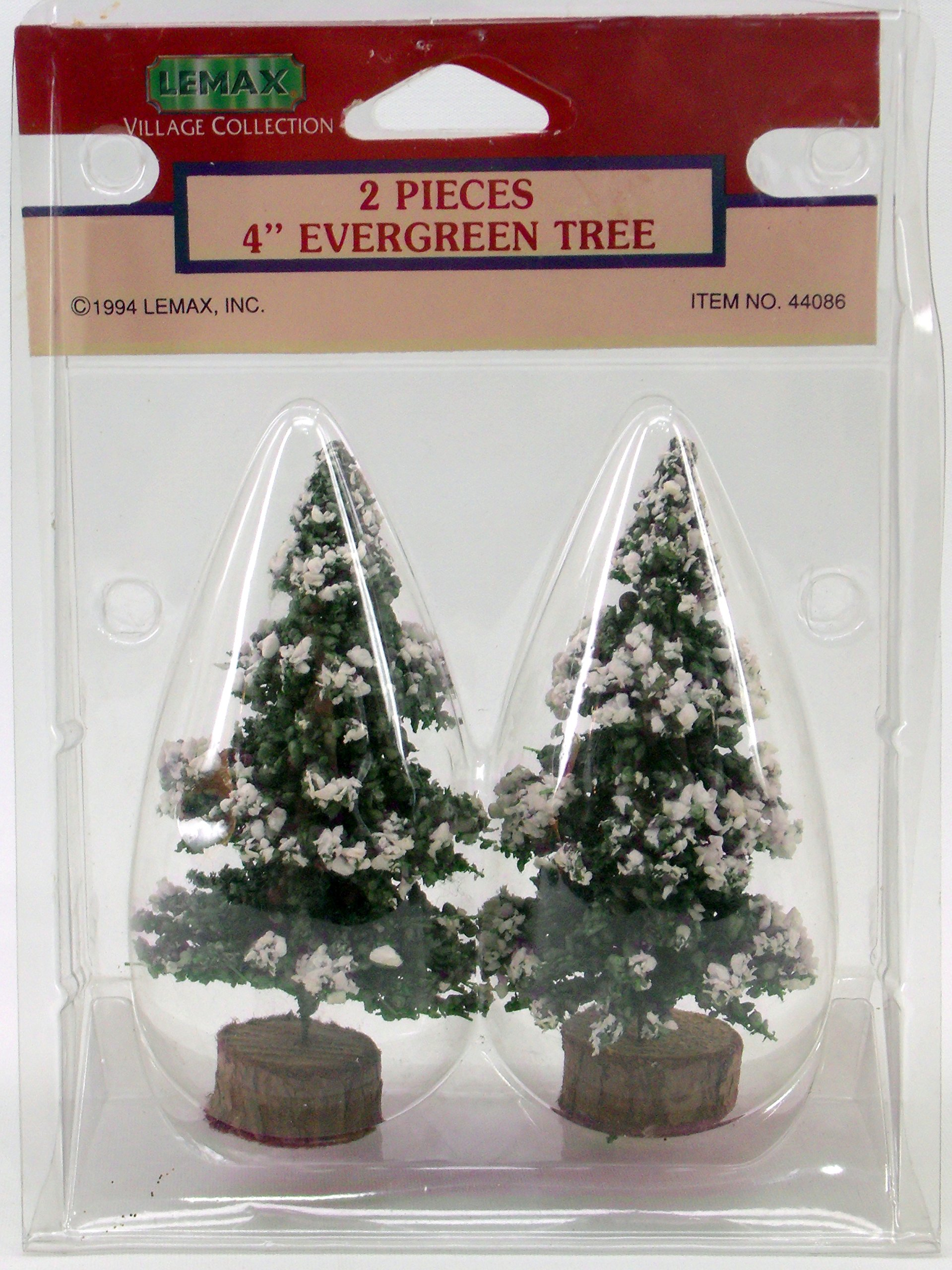 1994 Lemax 4'' Evergreen Tree with Snow & Wood Round Bases Item # 44086