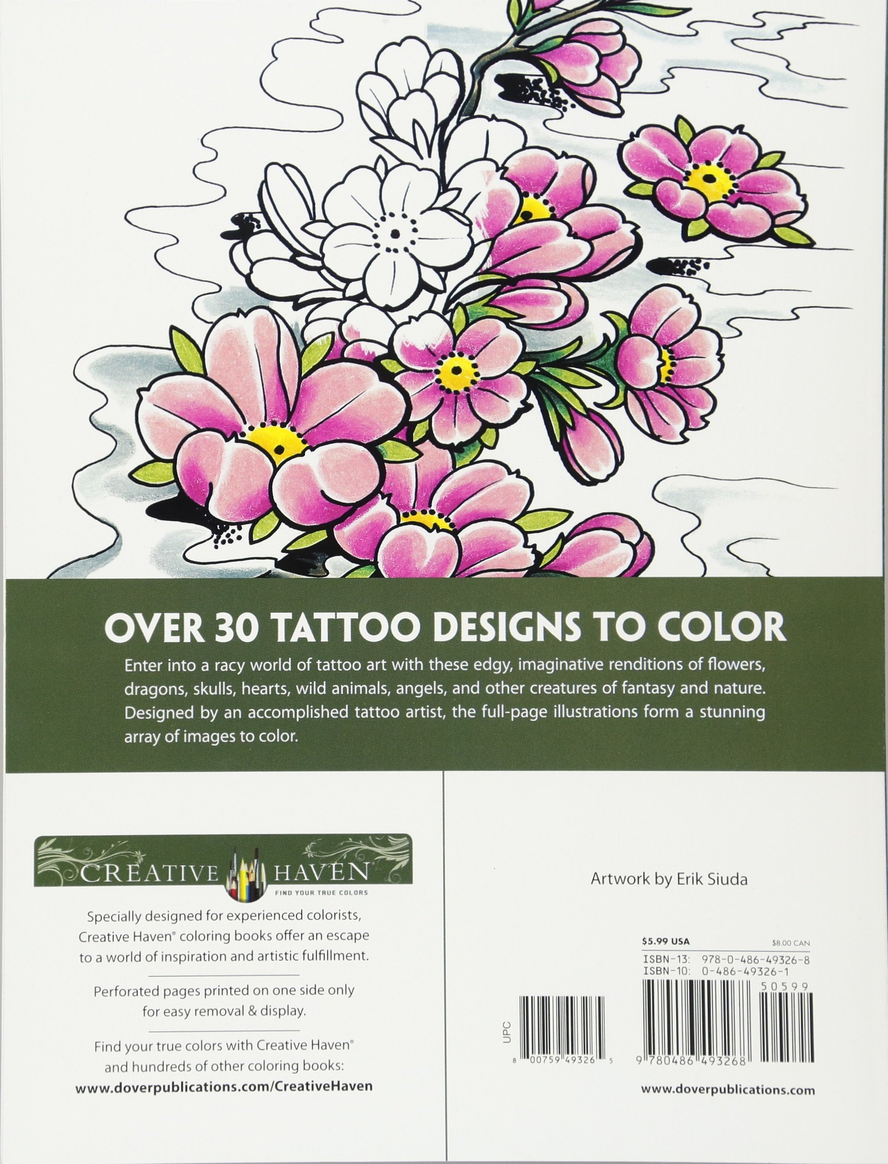 creative haven modern tattoo designs coloring book creative haven