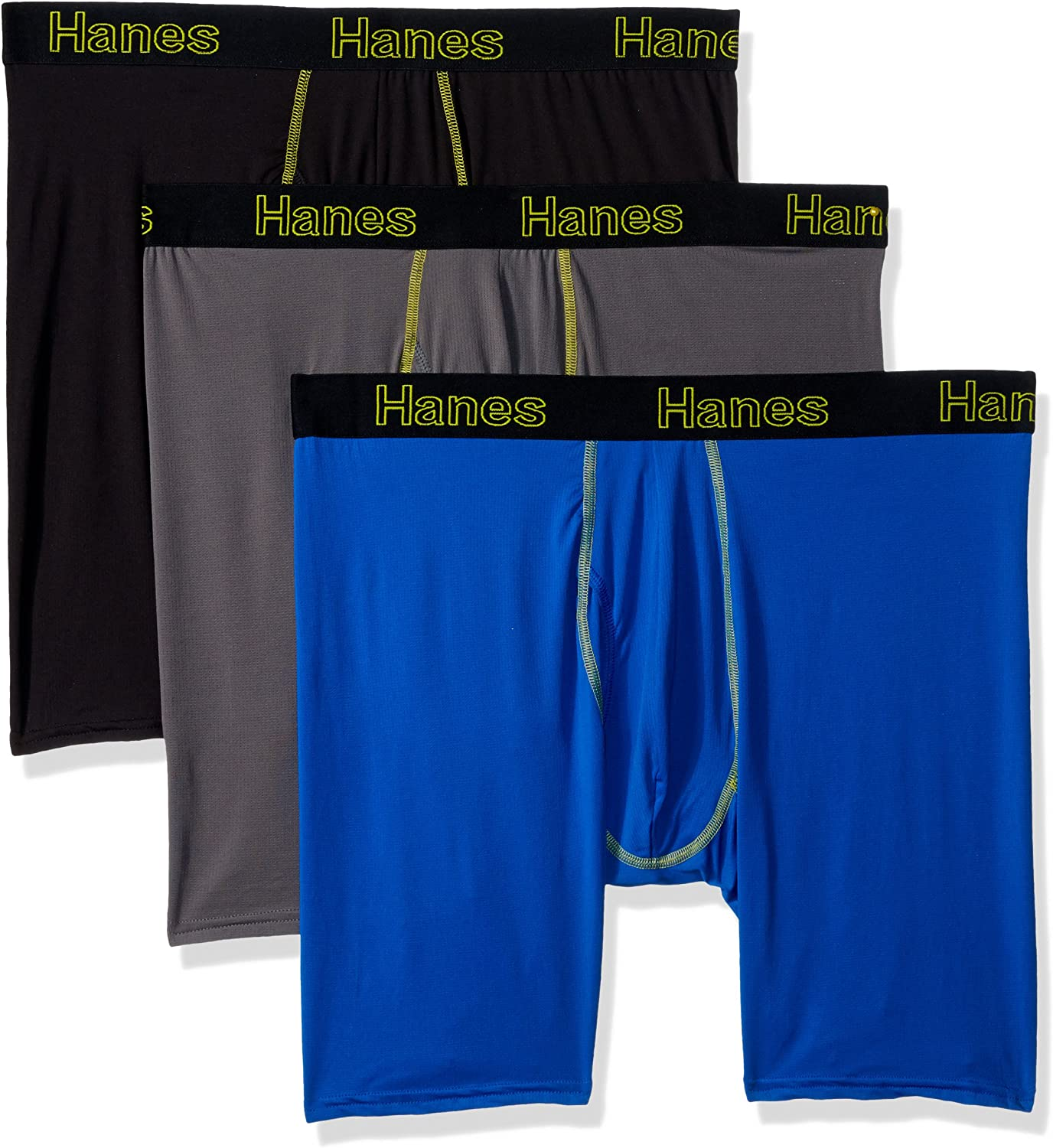 Hanes Men's Comfort Flex Fit Lightweight Mesh Long Leg Boxer Brief 3-Pack