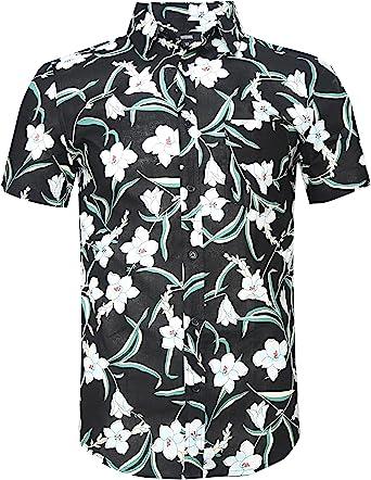 NUTEXROL Camisa Hombre Estampada de Flores, Cierre con Boton Camisa de Vestir Hombre Camiseta Casual Camisa de Manga Corta, Varios Estilos(Cada Estilo Tiene 6 Tallas): Amazon.es: Ropa y accesorios