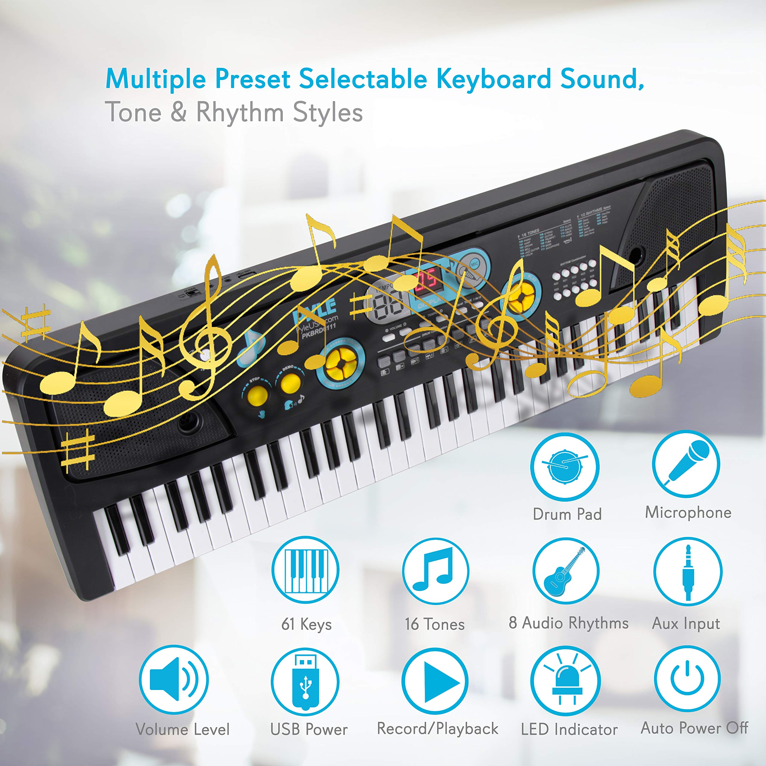Digital Piano Kids Keyboard - Portable 61 Key Piano Keyboard, Learning Keyboard for Beginners w/ Drum Pad, Recording, Microphone, Music Sheet Stand, Built-in Speaker - Pyle PKBRD6111 by Pyle
