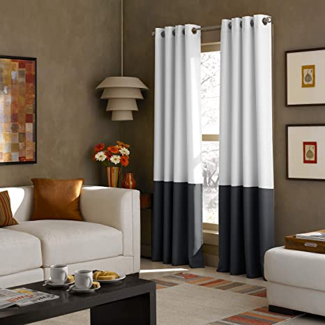 Amazon Com Curtainworks Kendall Color Block Grommet Curtain Panel 108 Inch White Home Kitchen