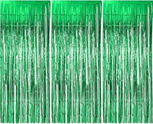 Sumind 3 Pack Metallic Tinsel Curtains, Foil Fringe Shimmer Curtain Door Window Decoration for Birthday Wedding Party (Green)