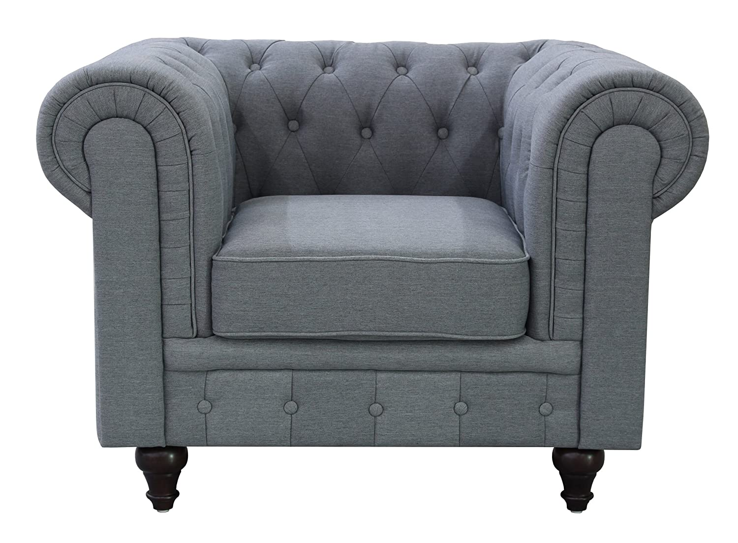 US Pride Furniture S5070-L Linen Fabric Chesterfield Sofa Set, Grey