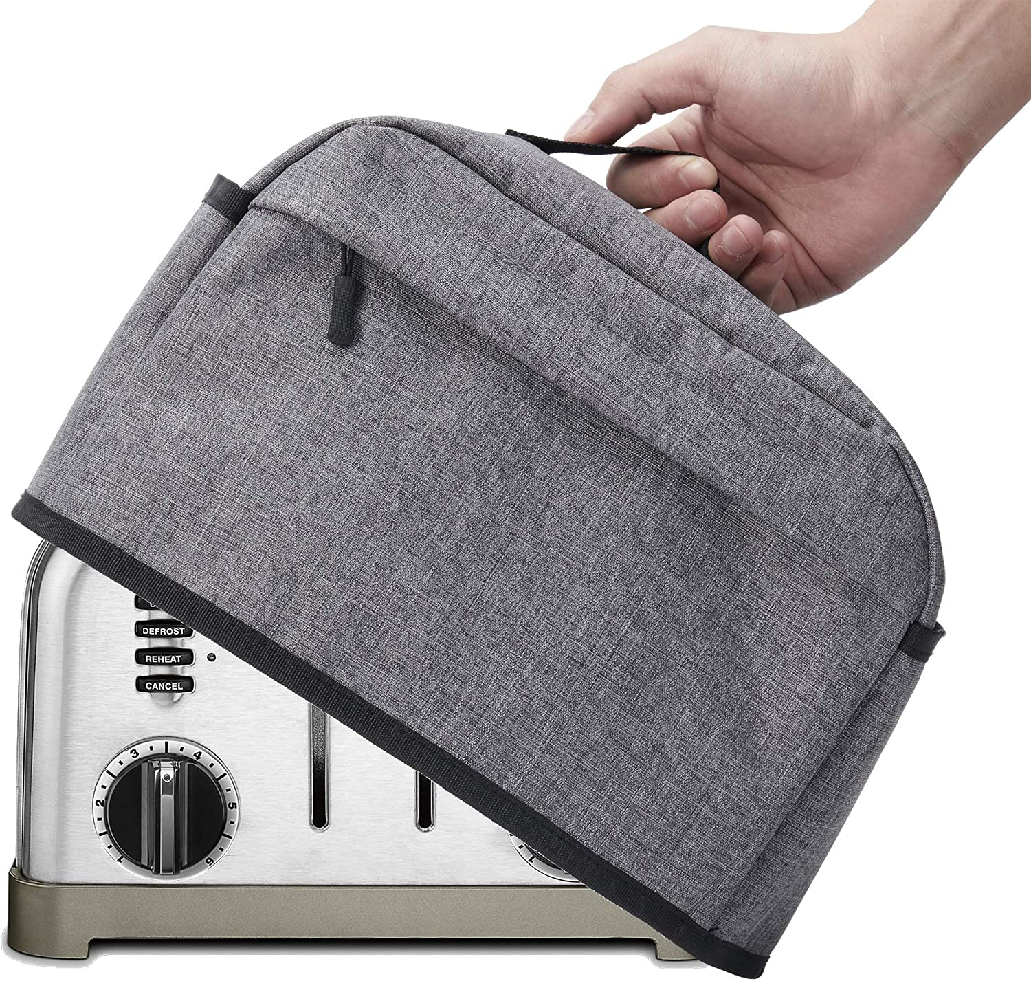 4 Slice Toaster Cover with Zipper & Open Pockets Kitchen Small Appliance Cover with Handle, Dust and Fingerprint Protection, Machine Washable, Grey