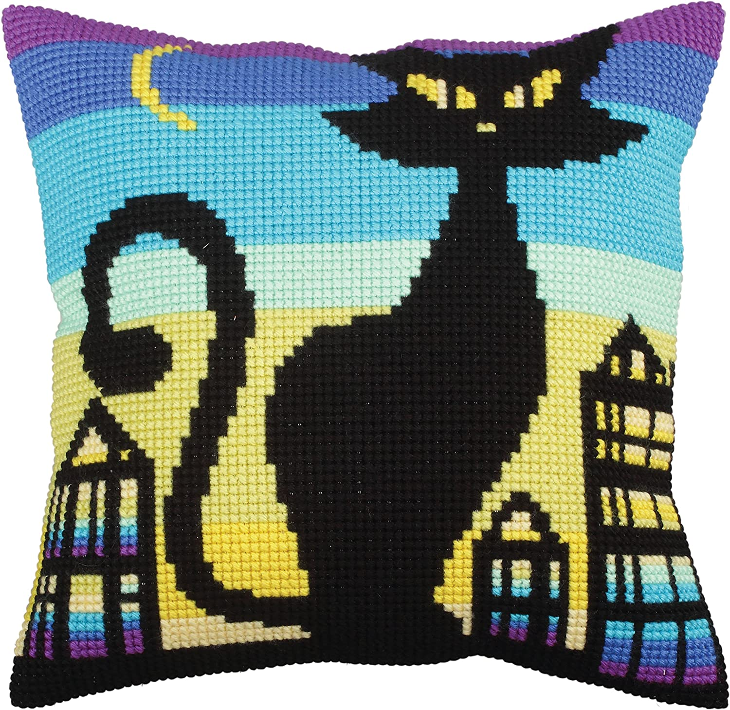 Collection D'art Stamped Needlepoint Cushion Kit 40x40cm-Black Grace RTO