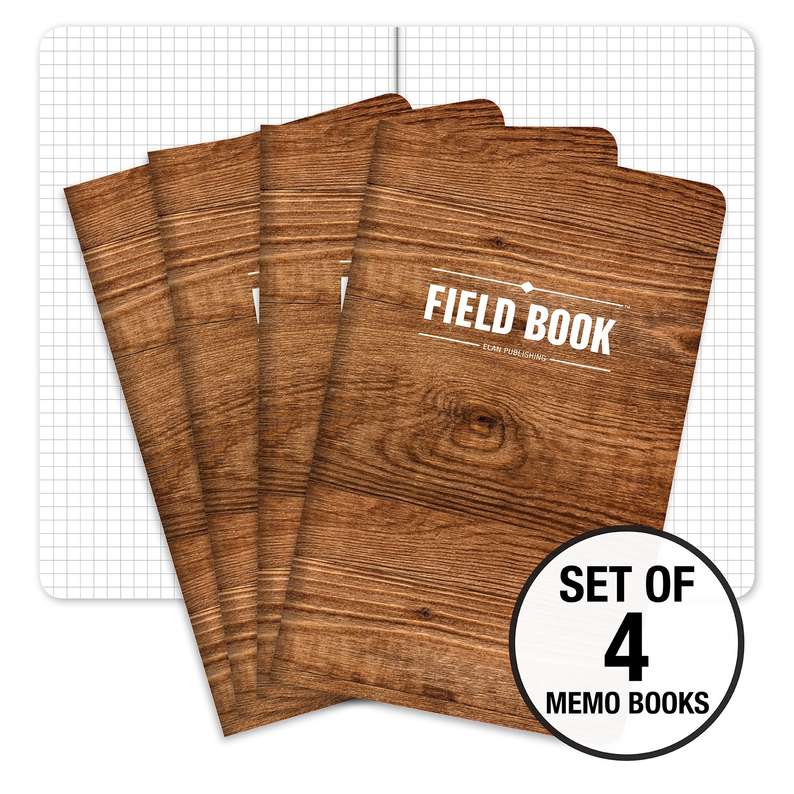 Field Notebook - 5''x8'' - Wood Pattern - Graph Memo Book - Pack of 4