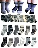 BSLINO 6 Pairs Non Skid 2-3 Years Baby Boys Toddler Anti Slip Skid Slipper Stretch Knit Socks + Gift bag + Gift Card, Stripes Star Footsocks sneakers Socks
