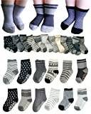 Amazon Price History for:BS® 6 Pairs 2-3 Years Baby Boys Toddler Anti Slip Skid Slipper Stretch Knit Socks + Gift bag + Gift Card, Stripes Star Footsocks sneakers Socks, Sole Length 3.9inch - 4.7inch