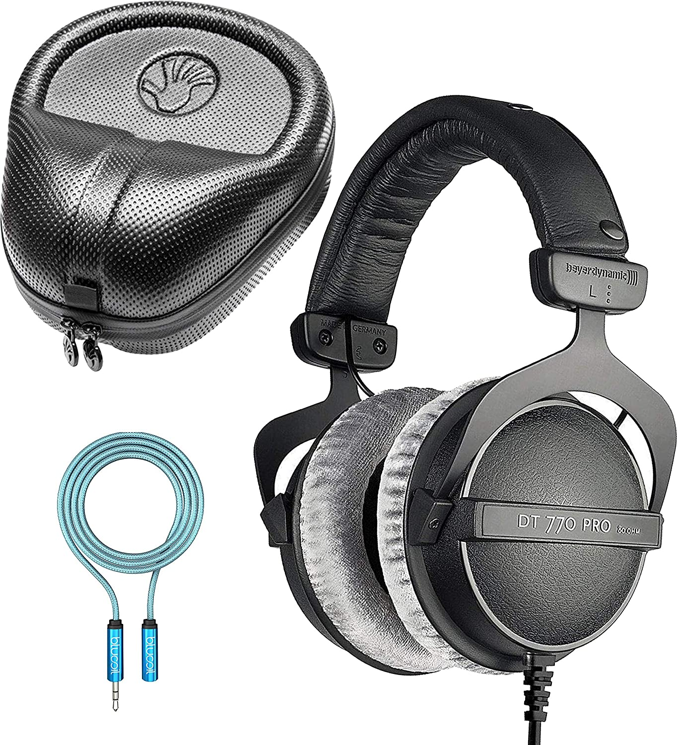 Beyerdynamic DT 770 PRO 32 Ohm Closed Back Headphones Bundle with SLAPPA Hardbody PRO Headphone Case and Blucoil 6-FT Headphone Extension Cable 3.5mm