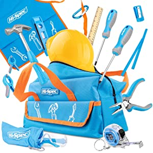 Hi-Spec 15 Piece Children's Tool Kit with Real Small-Sized Hand Tools, Safety Goggles and Play-Work Hat All in a Convenient Storage Bag
