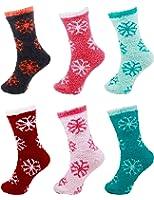 6 Pairs Assorted Super Soft Warm Microfiber Comfy Home Socks - Value Pack