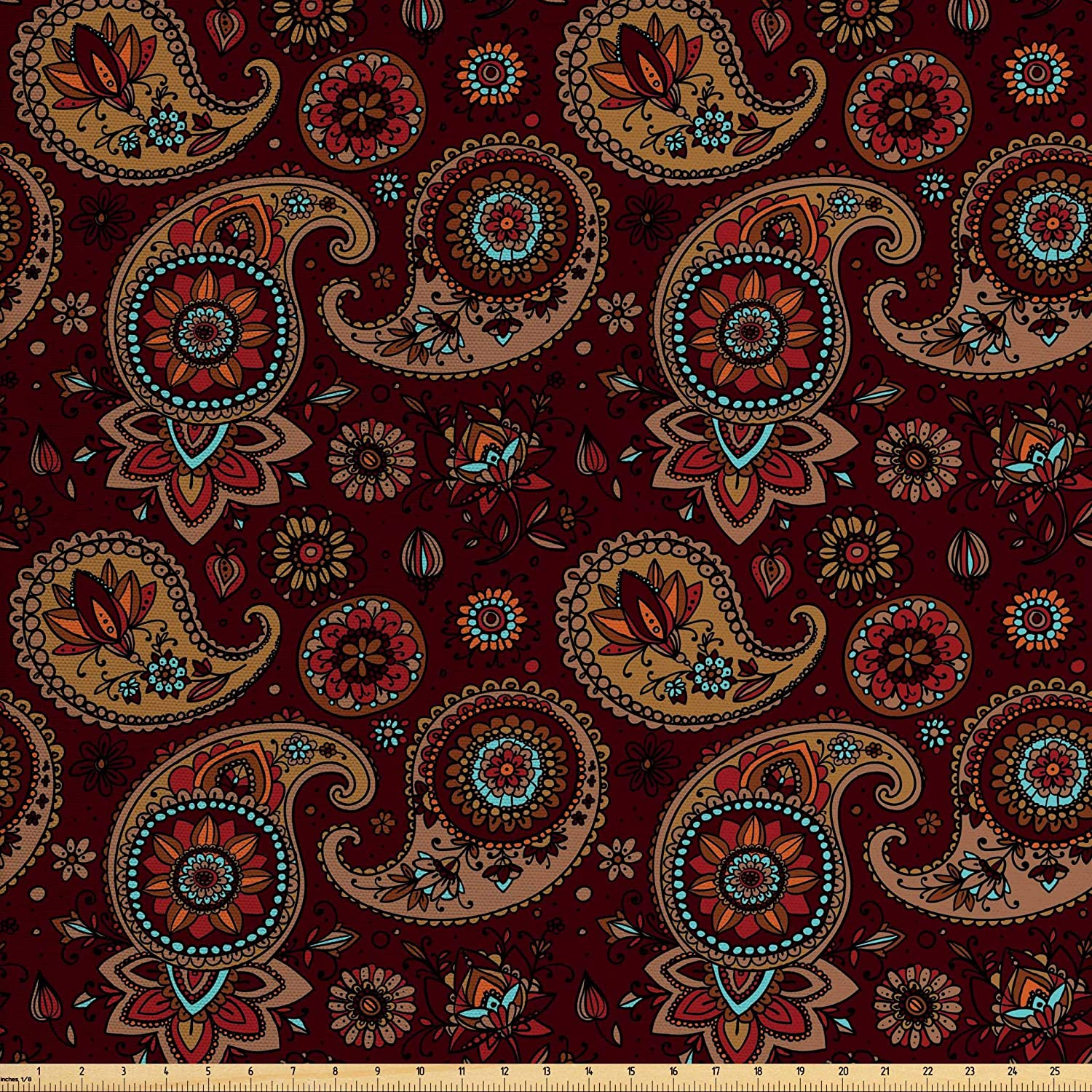 Ambesonne Paisley Fabric by The Yard, Middle Pattern Tribual Artwork Bohemian, Decorative Fabric for Upholstery and Home Accents, 1 Yard, Chestnut Brown