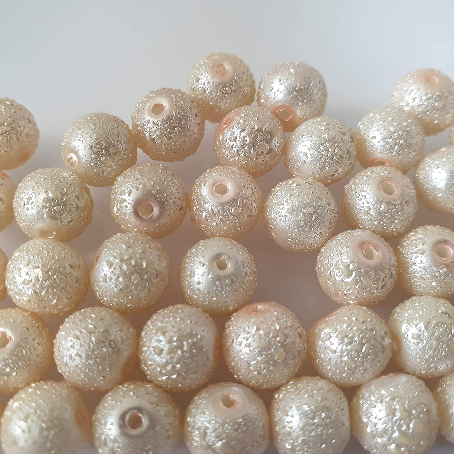 KB0737 moon effect surface 6mm Pale Pink 100 Pcs 6mm Textured Glass Pearl Beads
