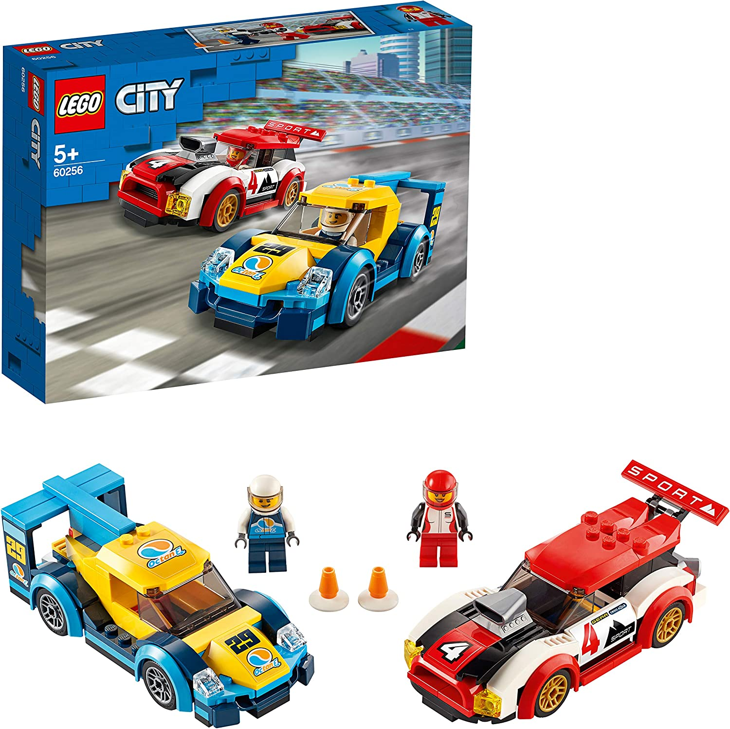this is an image of a Lego city racing car set with race driver minifigures