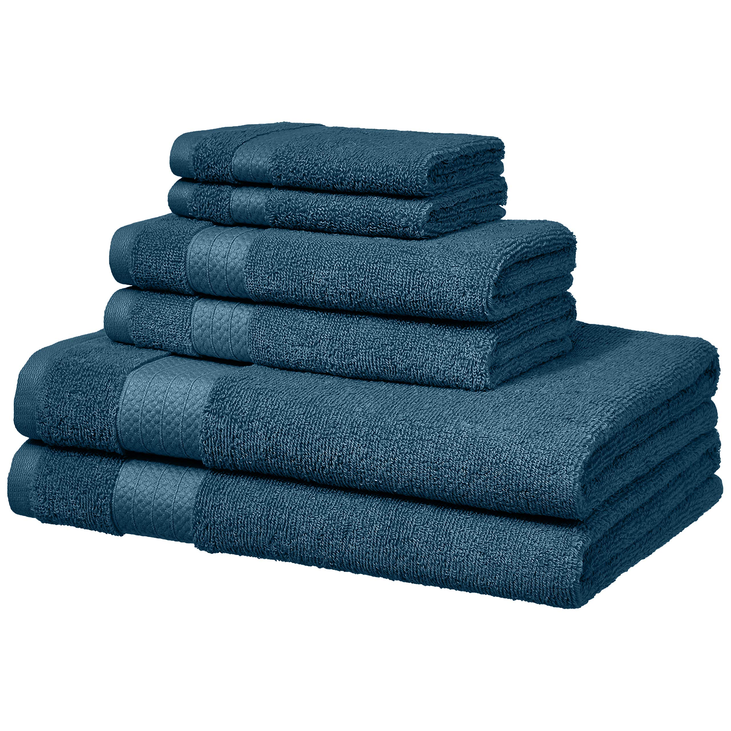AmazonBasics Performance Bath Towels - 6 Piece Set, Hydro Blue