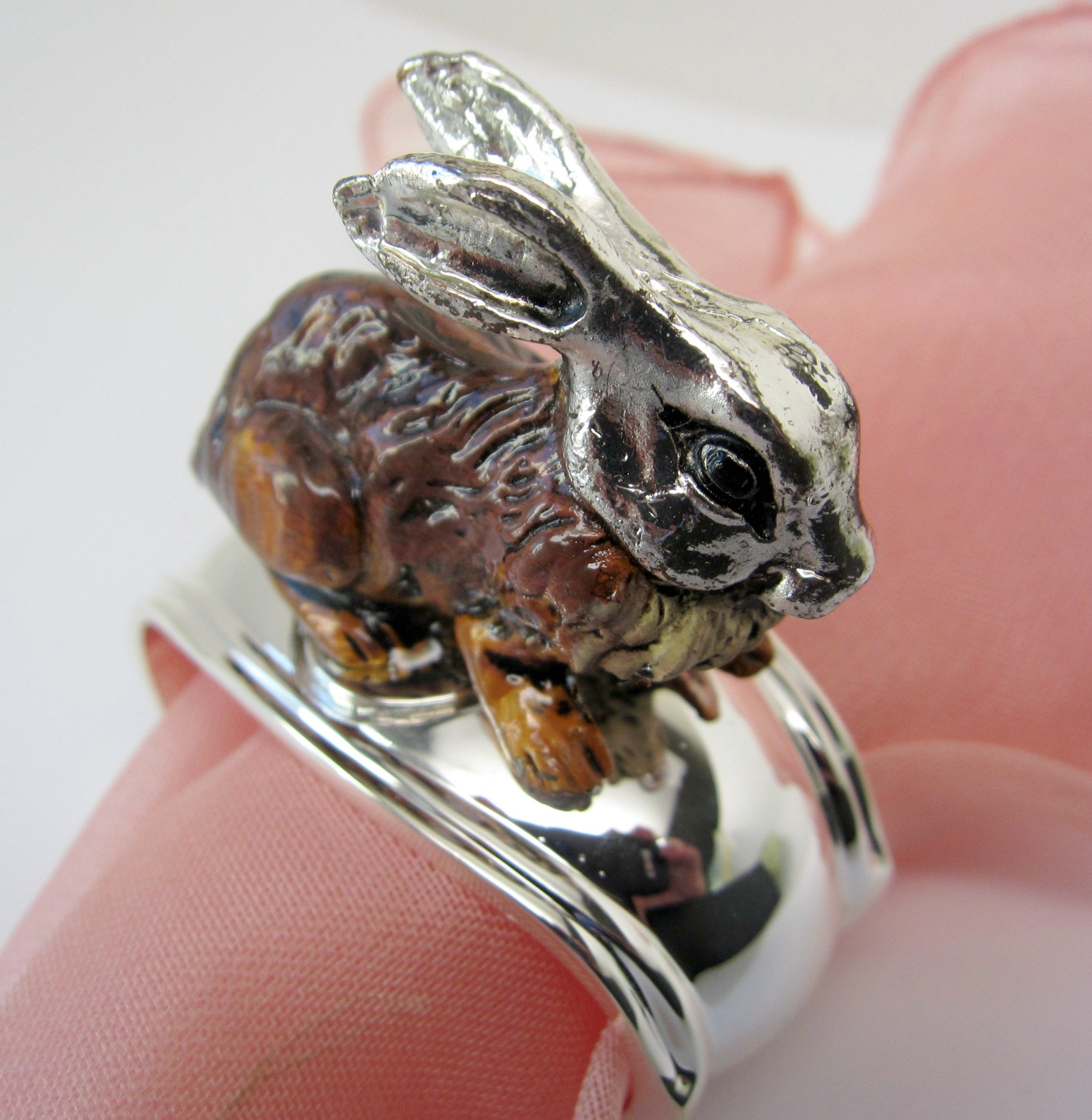 Hans Turnwald Set 4 Rabbit Bunny Signed Silverplate Figural Napkin Rings Easter Gift Box by Hans Turnwald (Image #3)