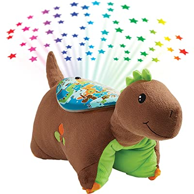 Pillow Pets Sleeptime Lites Brown Dinosaur Stuffed Animal Plush Night Light: Toys & Games