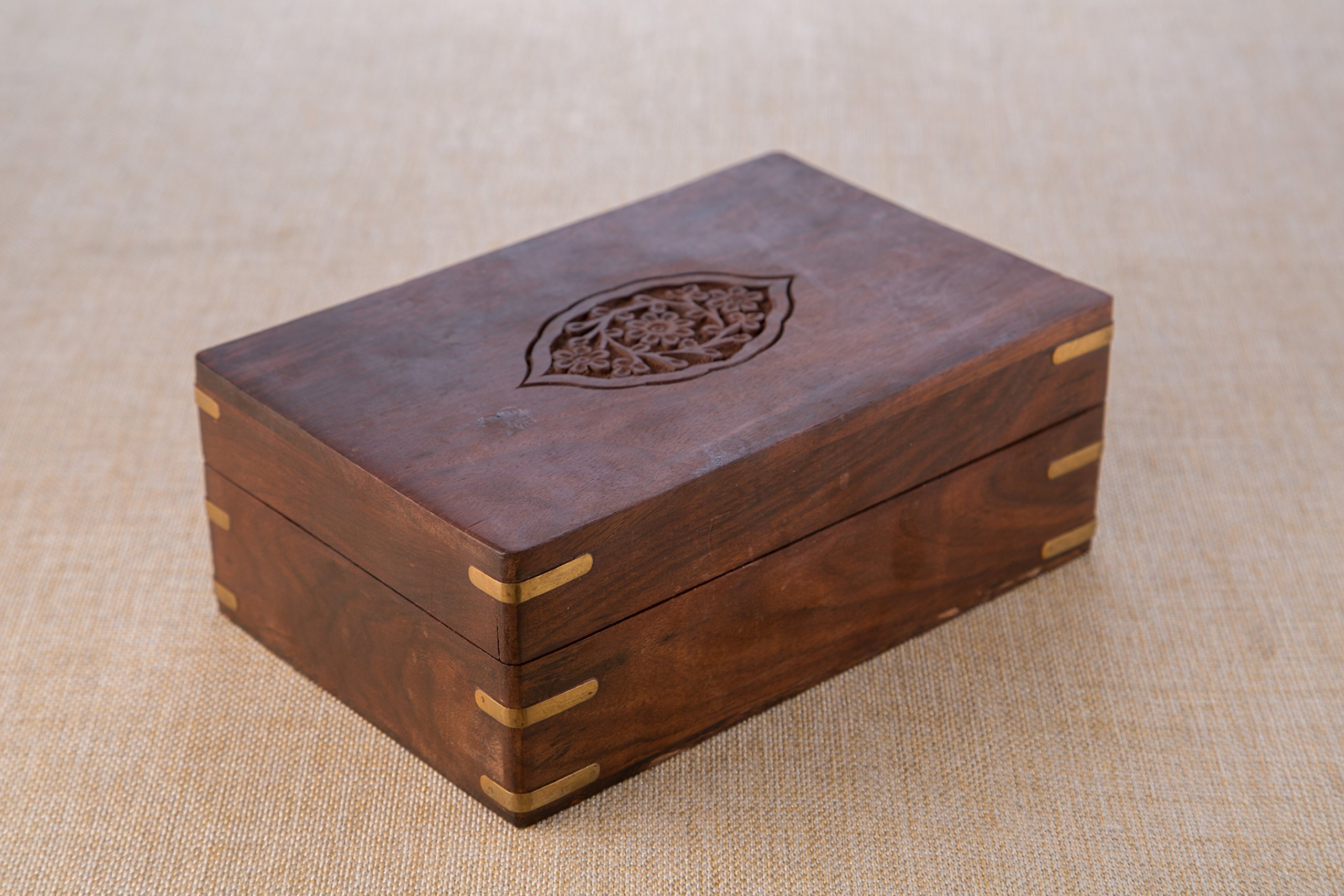 Rusticity Indian Rosewood Antique Treasure Storage Chest Box for Condiment Spice&Jewellery/Vintage Rustic Keepsake Trinket Organizer w/9 Compartments/Handmade Decorative Sheesham Wood Caddy Tea Bag by Rusticity (Image #3)