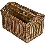 east2eden Vintage Retro Wicker Magazine Newspaper Holder Rack Stand Storage Basket (Antique Brown)