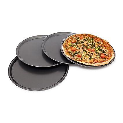 Teglie Rotonde Per Pizza Alluminio.Relaxdays 10019245 Set 4 Teglie Per Pizza Rotonde Lega Di Acciaio Nero 33x33x1 8 Cm