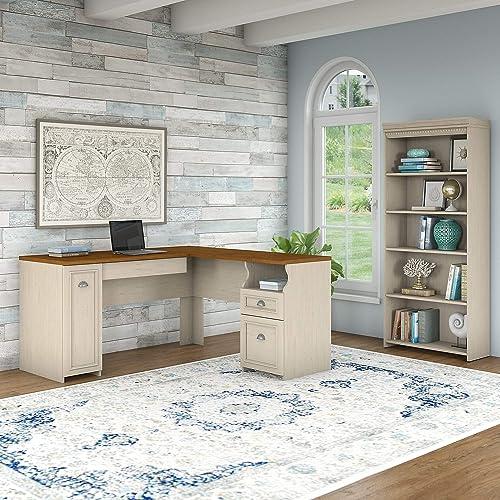 Bush Furniture Fairview L Shaped Desk and 5 Shelf Bookcase