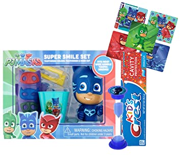 PJ MASKS Inspired 6pc Super Hero Smile Gift Set! Includes Toothbrush, Brushing Timer,