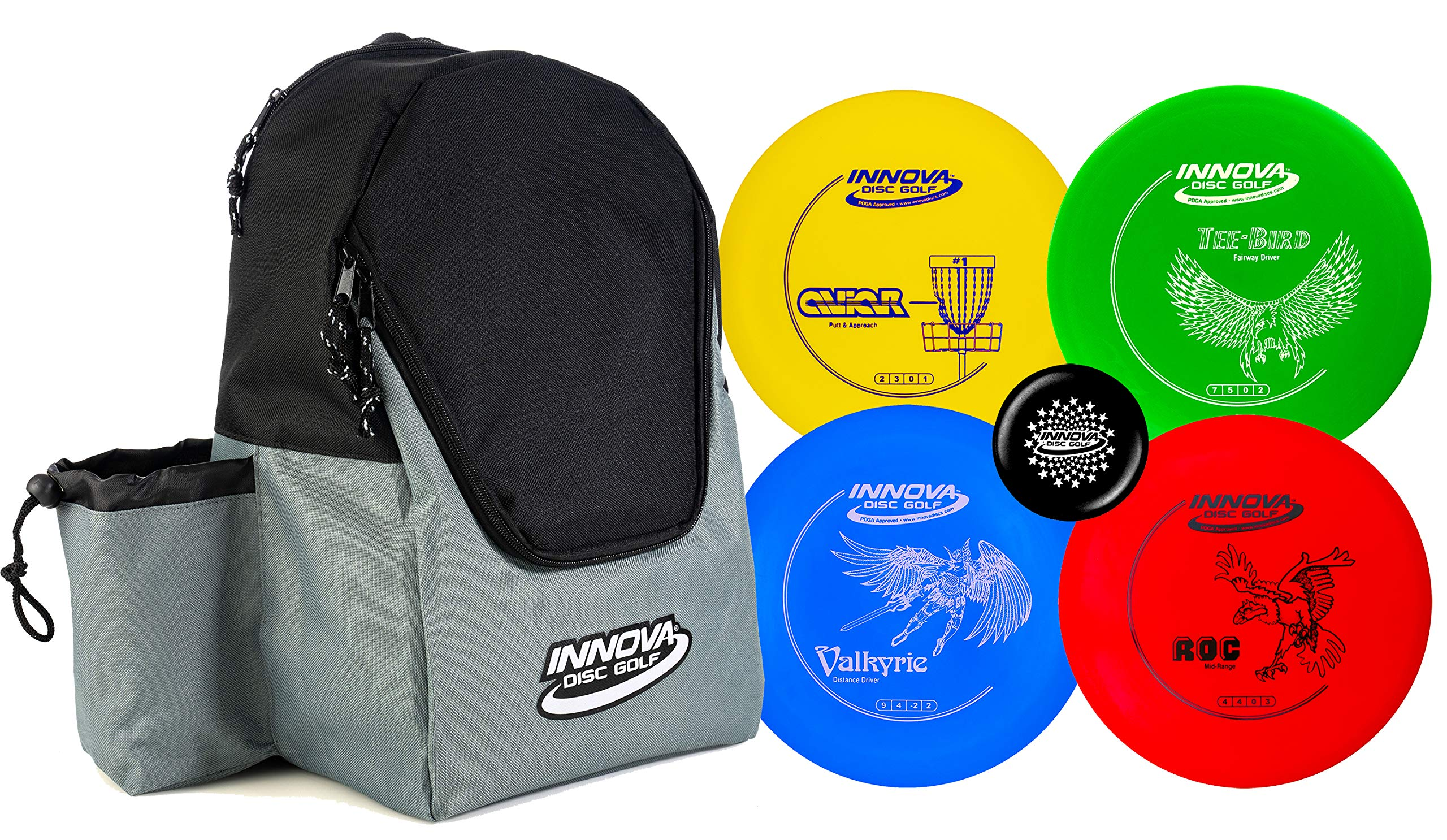 Innova Discs Golf Set with 4 Discs and Discover Disc Golf Backpack - DX Distance Driver, Fairway Driver, Mid-Range, Putter and Mini Marker Disc (Black/Gray) by Innova Discs