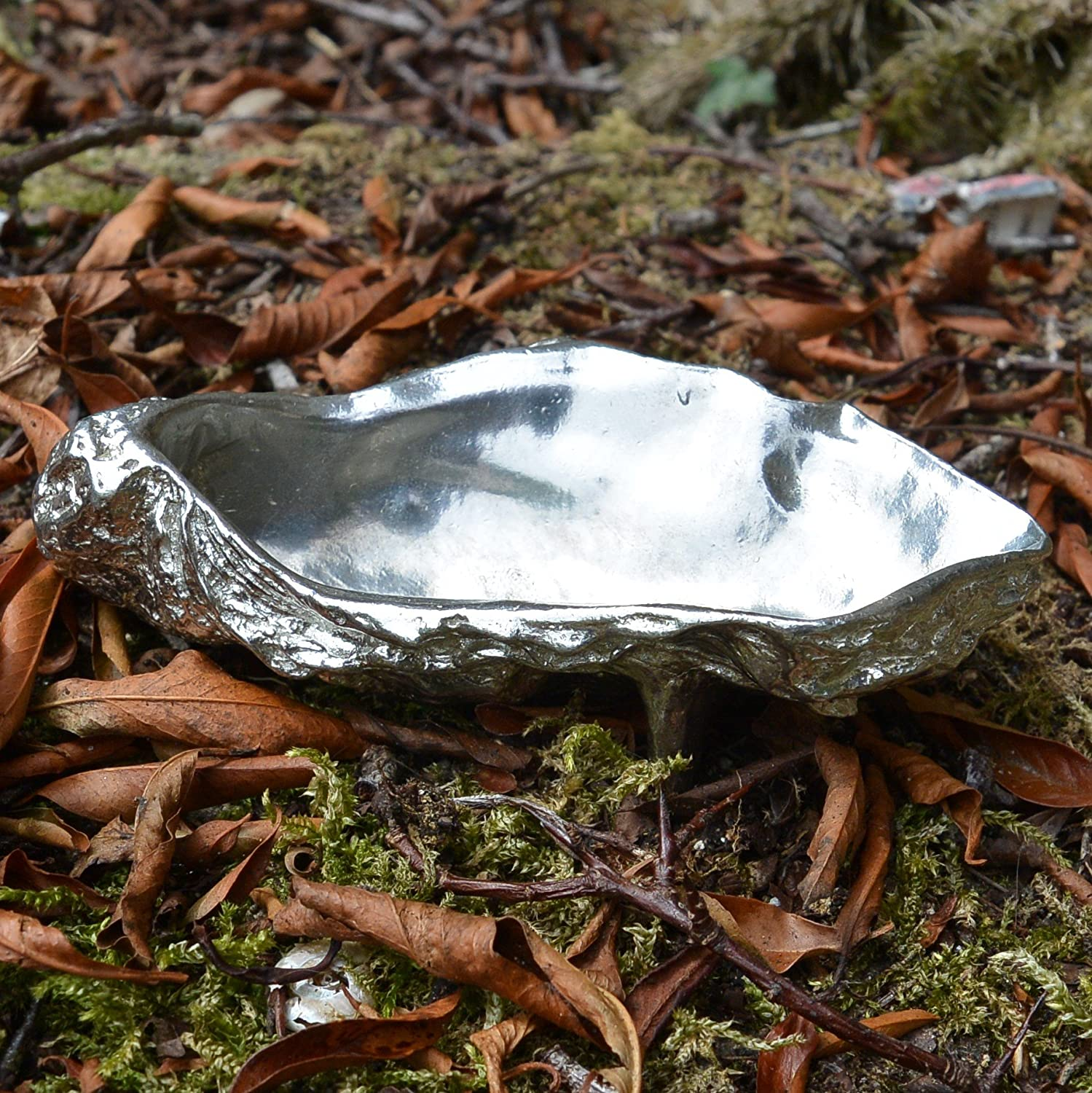 Fine Pewter Oyster Shell Pepper or Salt Bowl and Spoon Handcast by William Sturt in Lead-Free Pewter