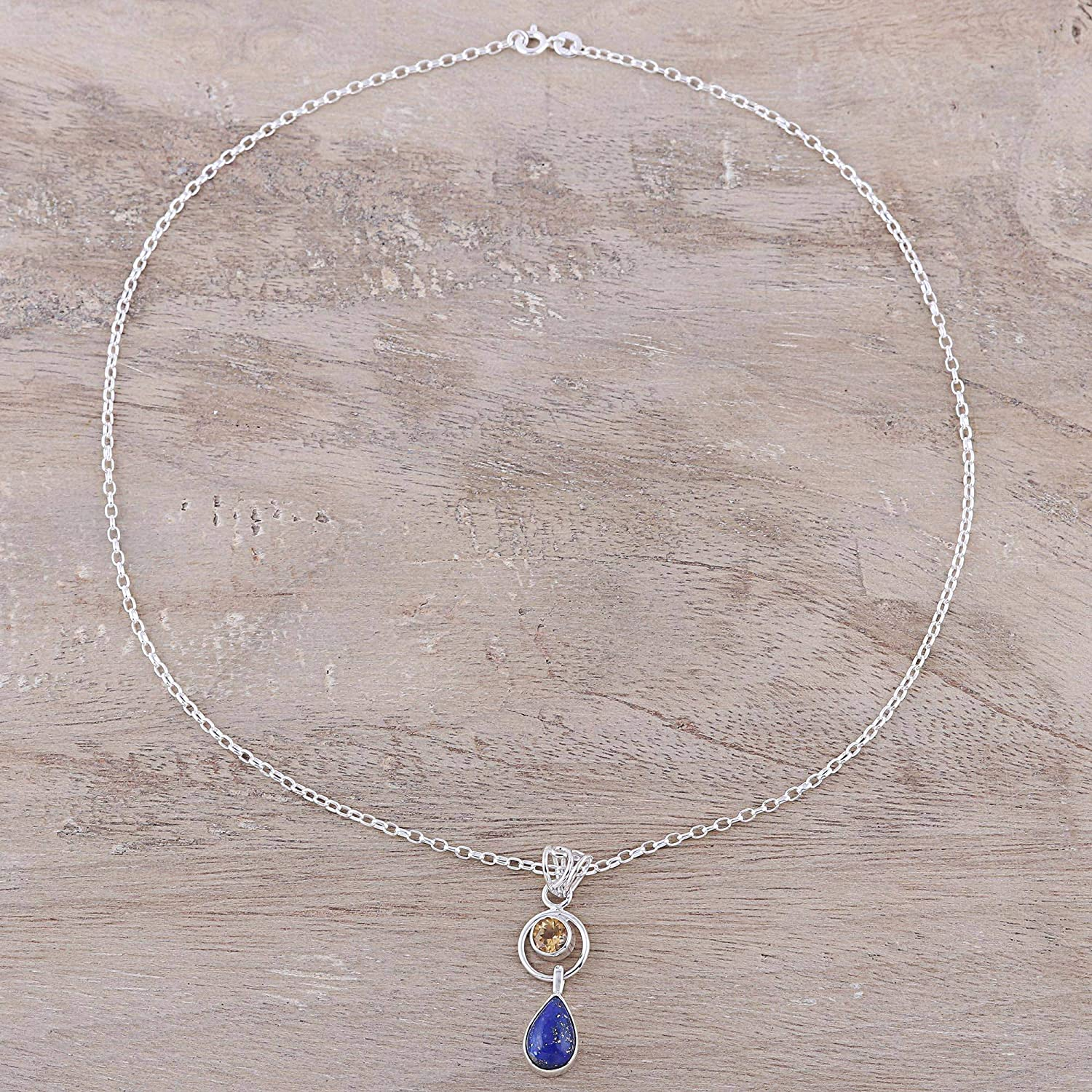 18 NOVICA Multi-Gem Lapis Lazuli .925 Sterling Silver Pendant Necklace Gleaming Midnight