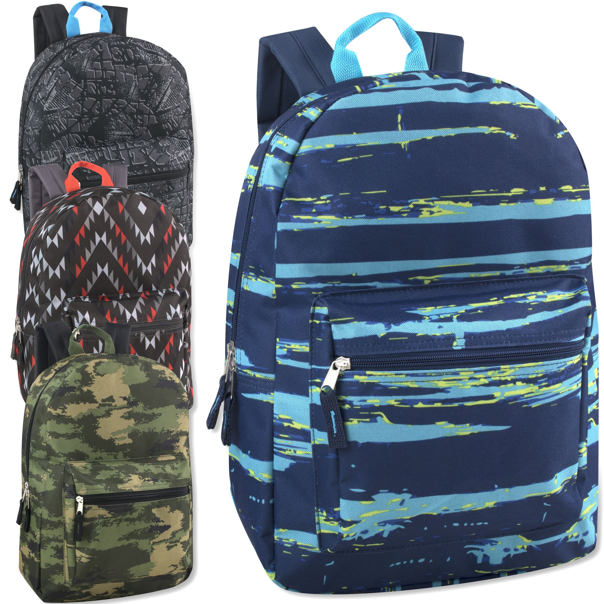 Trailmaker Printed 17 Inch Backpack with Pencil Pouch Wholesale Bulk Case Pack Of 24 (Boys 4 Color Assortment)